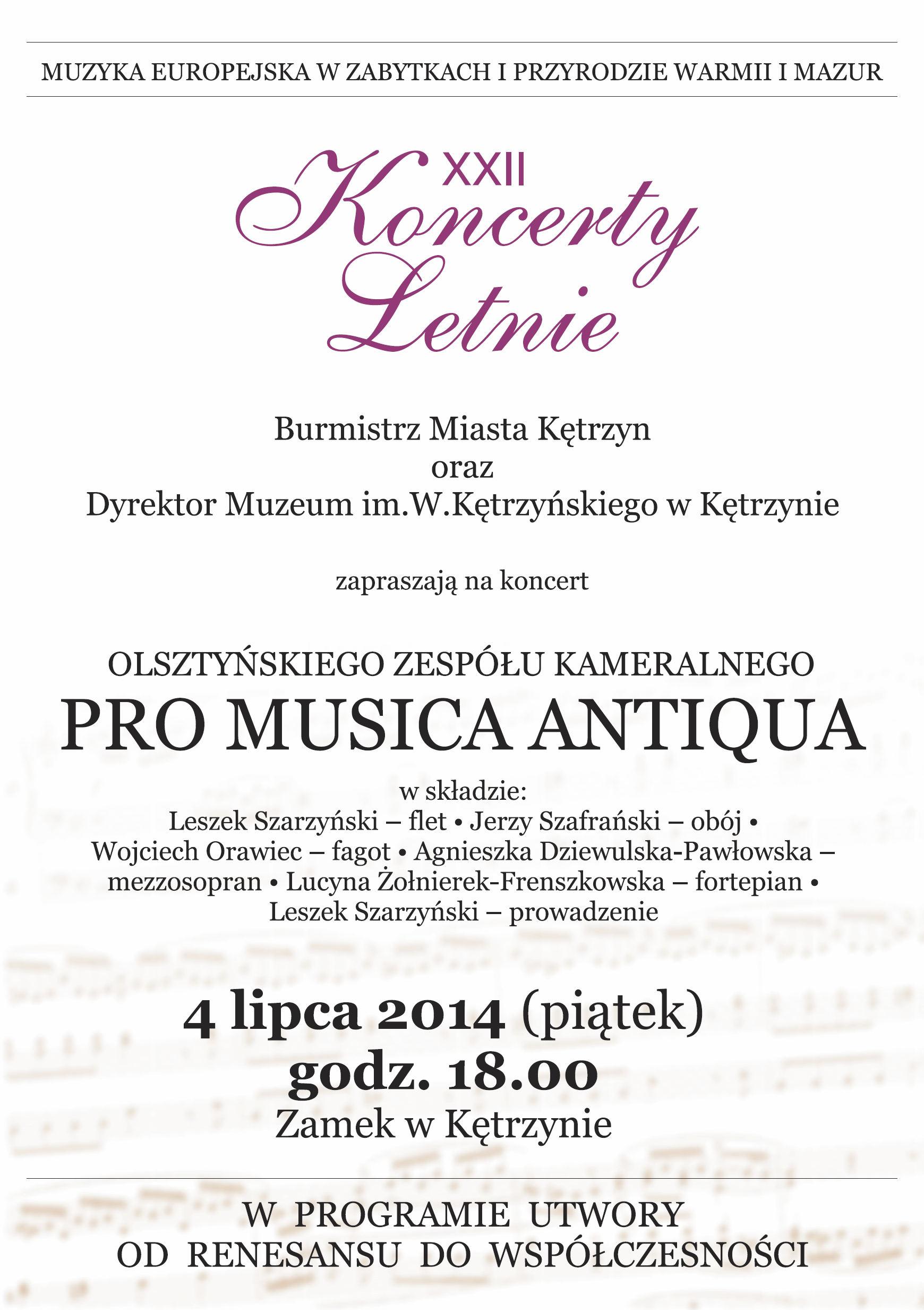 Plakat PRO MUSICA ANTIQUA