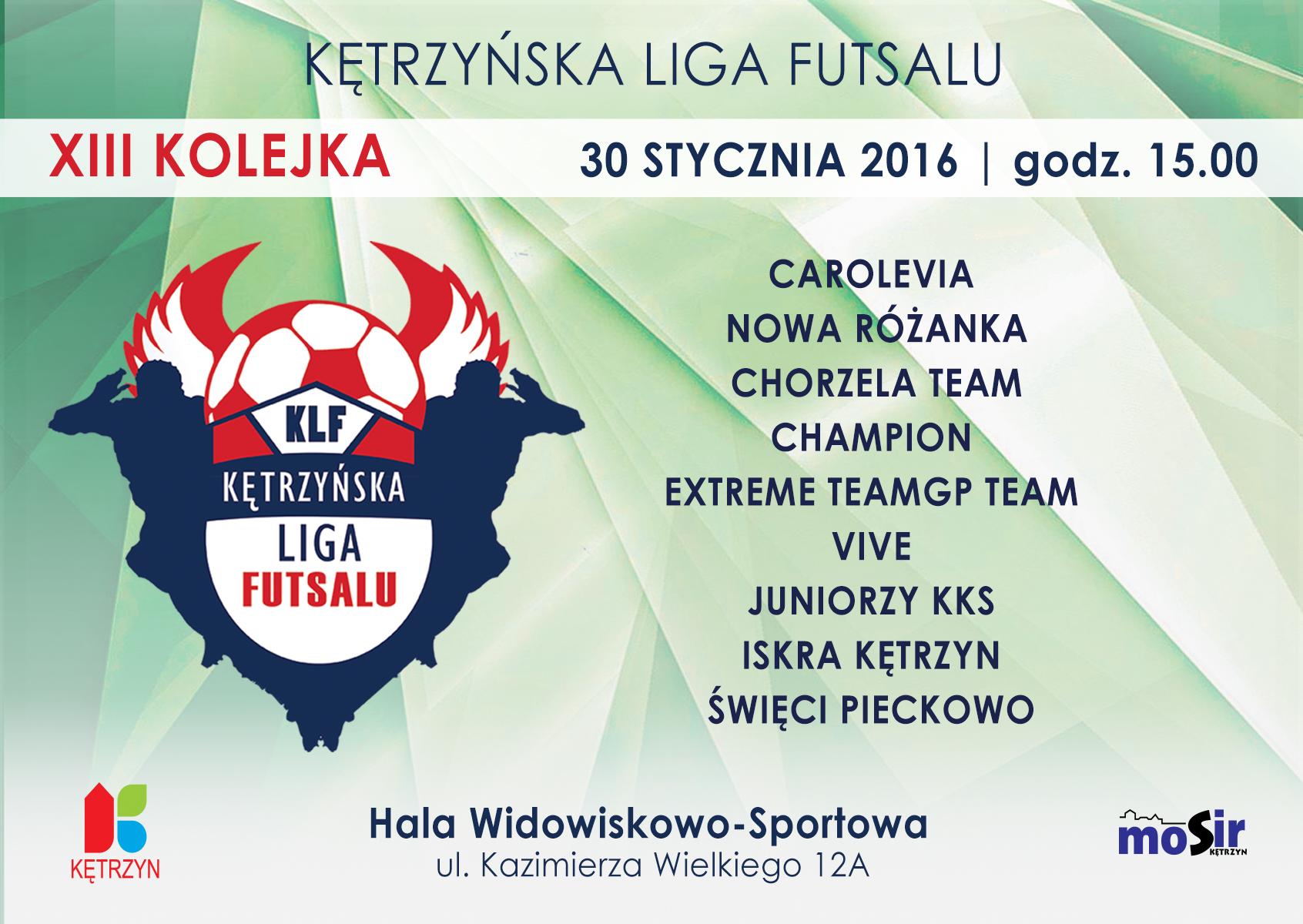 XIII kolejka Kętrzyńskiej Ligi Futsalu