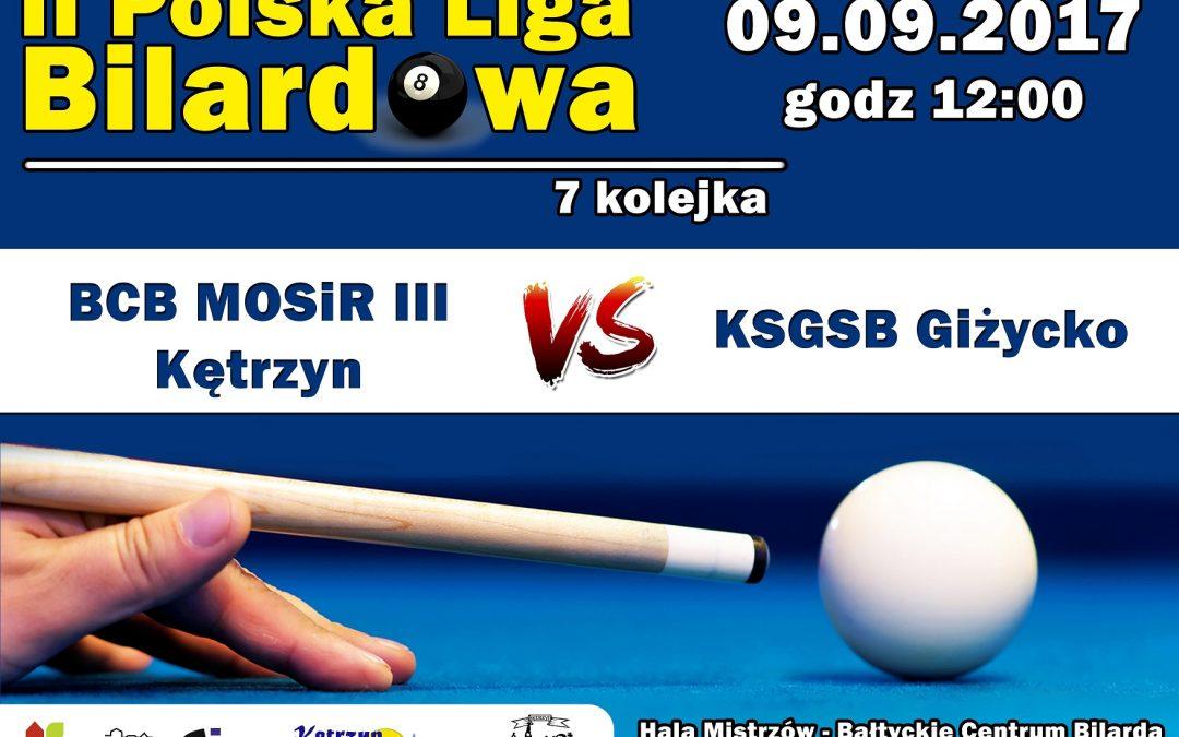 II Polska Liga Bilardowa BCB MOSiR III Kętrzyn vs, KSGSB Giżycko 9.09.2017 godz. 12.00